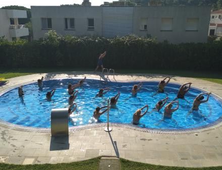 Stretching in the camping pool