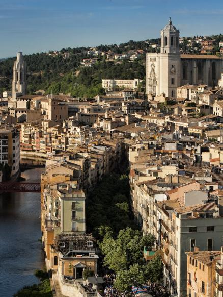 Aerial view of Girona and the river Onyar