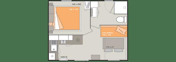 kaart van de verdeling van de bungalow