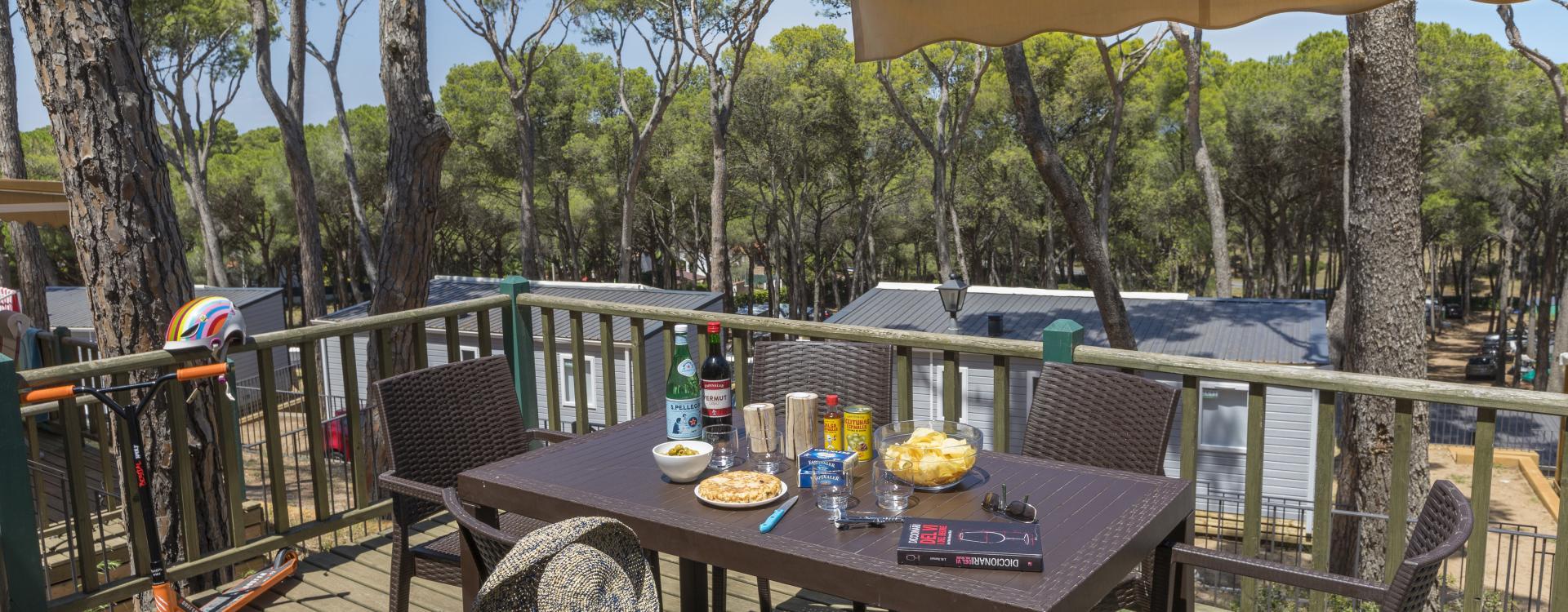 Vista de la terrassa dels bungalous del Camping Interpals