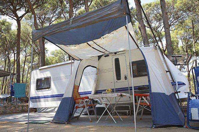 Caravan plot in a campsite in Pals (Spain)