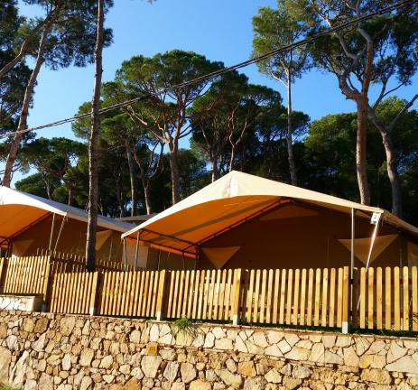 Large tents on the Costa Brava