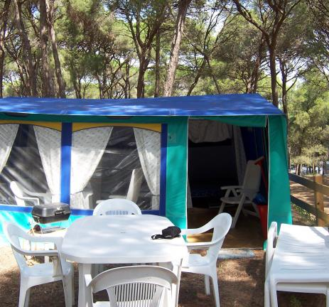 Family tents at the campsite