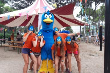 Entertainment team and the camping mascot